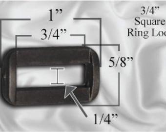 """30pcs - 3/4"""" Square Ring Loops - Black Plastic - (PSR-108)"""