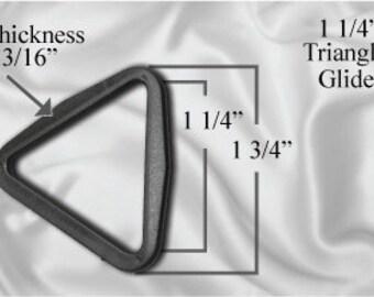 "100pcs - 1 1/4"" Triangle Glide - Black Plastic (TTG-104)"