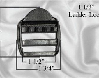 """30pcs - 1 1/2"""" Ladder Locks - Black Plastic - (PLL-100)"""