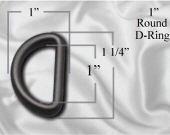 "100pcs - 1"" Rounded D-Ring - Black Plastic (PLASTIC D-RING PDR-102)"