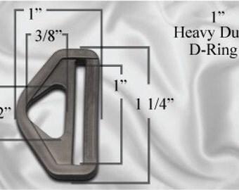 "10pcs - 1"" Heavy Duty D-Ring - Black Plastic - Free Shipping (PHD-106)"