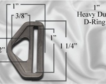 "50pcs - 1"" Heavy Duty D-Ring - Black Plastic - Free Shipping (PHD-106)"