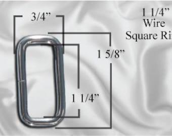 """30pcs - 1 1/4"""" Metal Square Ring - Nickel (SQUARE RING SRG-116)"""