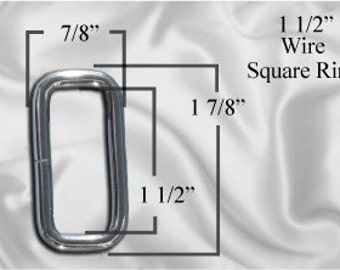 "10pcs - 1 1/2"" Metal Square Ring - Nickel (SQUARE RING SRG-124)"