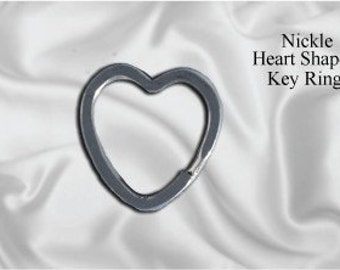 "100pcs - 1"" Heart Shaped Split Key Ring - Nickel (KEY RING KEY-108)"
