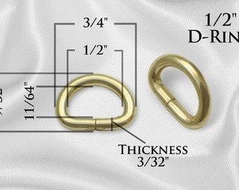 "10pcs - 1/2"" Metal D Rings Dee Rings Non Welded - GOLD - Free Shipping (D-RING DRG-102)"