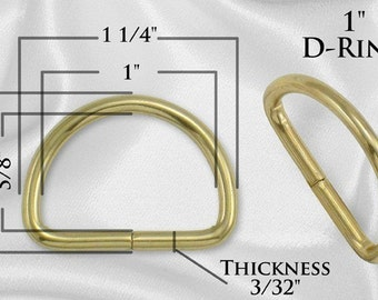 "50pcs - 1"" Metal D Rings Dee Rings Non Welded GOLD - Free Shipping (D-RING DRG-118)"