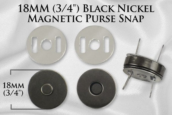 """10 Sets Magnetic Purse Snaps - Closures 18mm 3/4"""" Black Nickel - Free Shipping (MAGNET SNAP MAG-122)"""