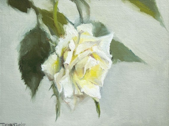 Wednesday White Rose, Original 8x6 Oil Painting by Terry Daniels