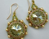 Rivoli Beadwoven Earrings in Green and Gold  Unique Beaded Beadwork Beadweaving Jewelry