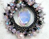 Swarovski Crystals Pearls Pink Purple  Black  healing Kabbalah Pendant Necklace Beadwoven Beaded Beadweaving Unique Jewelry