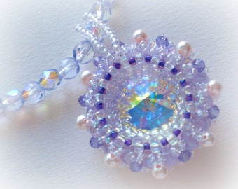 Crystal Rivoli Necklace  Unique OOAK Jewelry Purple Lavender Lilac Beaded Beadwoven Beadwork Beadweaving