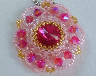 Crystal Beaded  Pink and Fuchsia  Pendant Necklace Unique Jewelry  Romantic gift