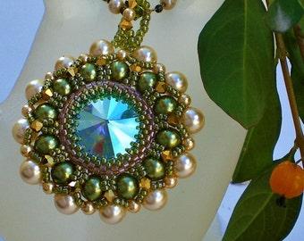 Rivoli Beadwoven Necklace Pendant Unique Beaded Beadwork Beadweaving Jewelry  Kriszta