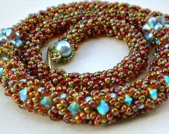 Cystal Necklace Earth Tones Autumn Colors Flexible Unique Beaded Beadwork Beadweaving  Jewelry Beadwoven
