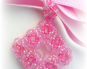 Pink Fuchsia Crystal  Beaded Beadwoven Beadwork  Pendant  Unique Jewelry Breast Cancer Awareness