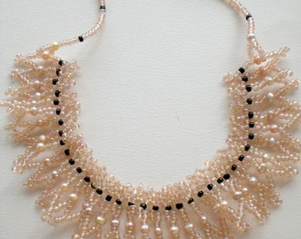 Necklace Cream Nude Pearls Lace Beaded Beadwoven  Beadweaving