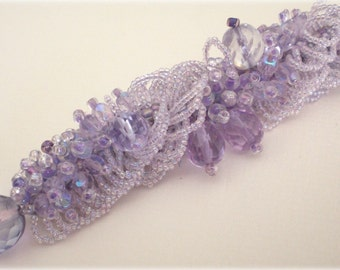 Crystal Purple  Beaded Necklace Unique Jewelry  Faeries Dew
