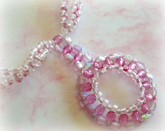 White Pink Crystal Necklace OOAK made by SpringColors