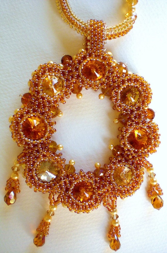 Crystal Statement Necklace in  Golden Brown Unique Beaded Jewelry Romantic Gift