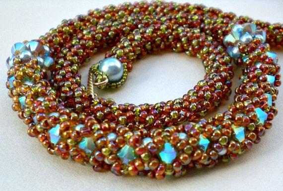 Cystal Necklace Earth Tones Autumn Colors Flexible Unique Beaded Beadwork Beadweaving  Jewelry Beadwoven