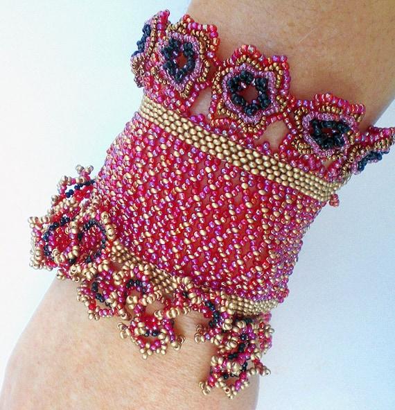 Cuff Bracelet Red Golden Black  Beadwoven Beaded Beadweaving Unique Jewelry  Temptation