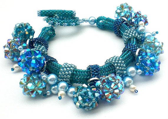 Rivoli Beadwoven Blue Bracelet Unique  Beaded Beadwork Beadweaving Jewelry  Inspired By Picasso