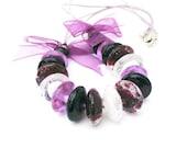 Purple Beaded Necklace, Lampwork Glass Jewelry, Chunky Statement Necklace, Handmade Beaded Jewelry, Violet & Amethyst Purple