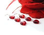 Red Heart Earrings. Romantic Handcrafted Sterling Silver & Glass Dangle Hearts