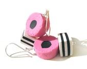 Pink Licorice Allsorts Earrings, Handmade Liquorice Allsorts Jewelry, Sterling SIlver Earrings, Pink Candy Earrings