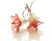 Lucite Flower Earrings, Sterling Silver Pale Green & Red Bellflowers, Spring Fashion for Mothers Day