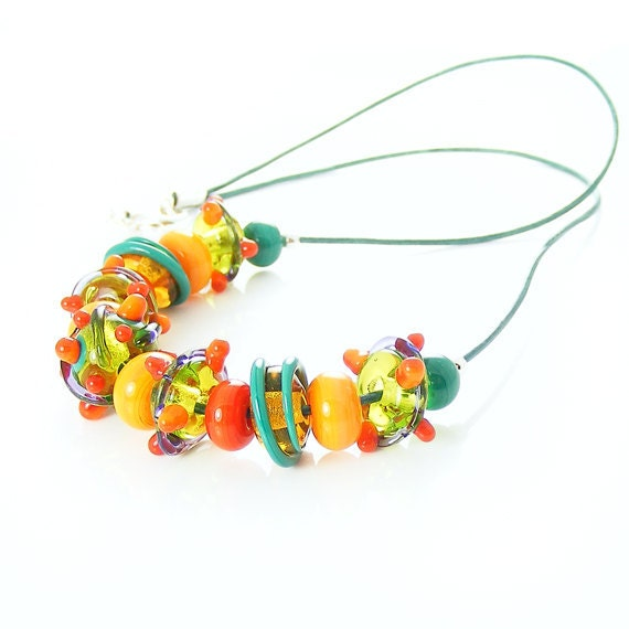 Fruit Salad Necklace, Handcrafted Citrus Lemon Lime & Orange Lampwork Glass Leather, OOAK Handmade Beaded Jewelry