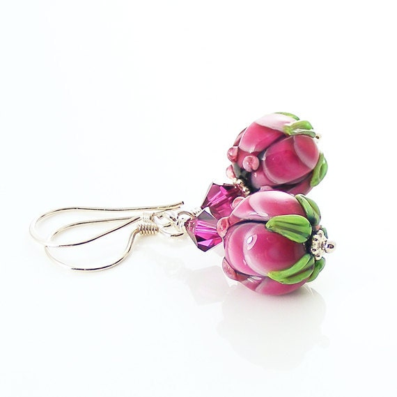 Fuchsia Pink Earrings, Handmade Lampwork Bead Earrings, Lampwork Glass & Sterling Silver, Rosebuds Flowers, OOAK