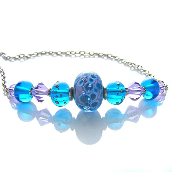 Sky Blue Necklace, OOAK Artisan Handcrafted Lampwork Glass & Sterling Silver Necklace, Blue Violet, Handmade Beaded Jewelry