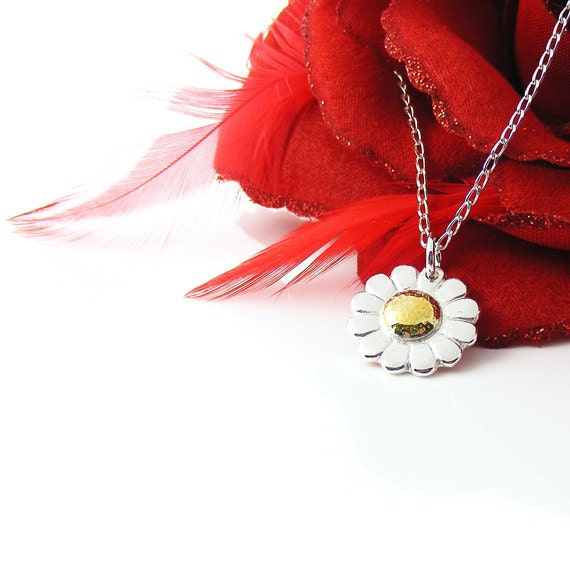 Silver Daisy Necklace, Handcrafted Jewelry, Recycled Silver & 24kt Gold Pendant, Custom Order, Reserved for Hannah
