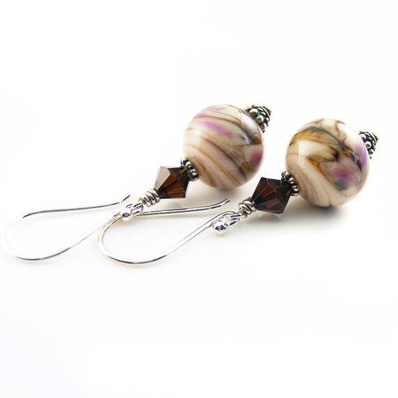 Driftwood Earrings. Handcrafted Sterling Silver Earrings. Creamy Mocha Brown & Raspberry Lampwork Glass. Ready to Ship