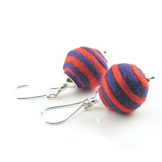 Needle Felted Earrings, Handcrafted Sterling Silver & Merino Wool. Red and blue spiral felt balls