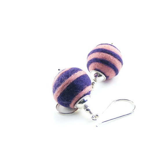 Felt Ball Earrings, Sterling Silver & Merino Wool, Handmade Felt Earrings, Pink Purple Spirals