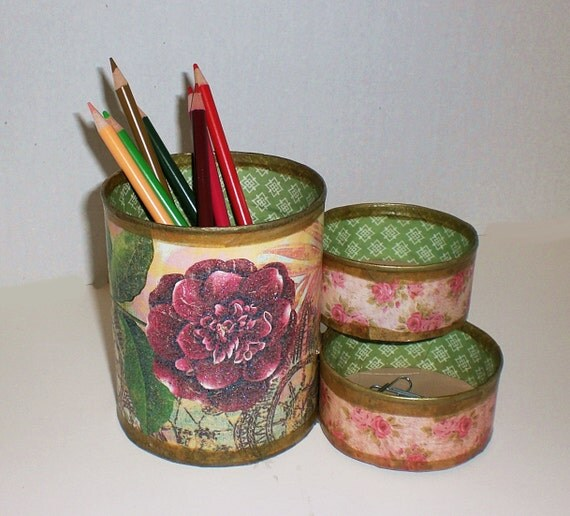Desk Organizer / Pencil Holder made from upcycled cans
