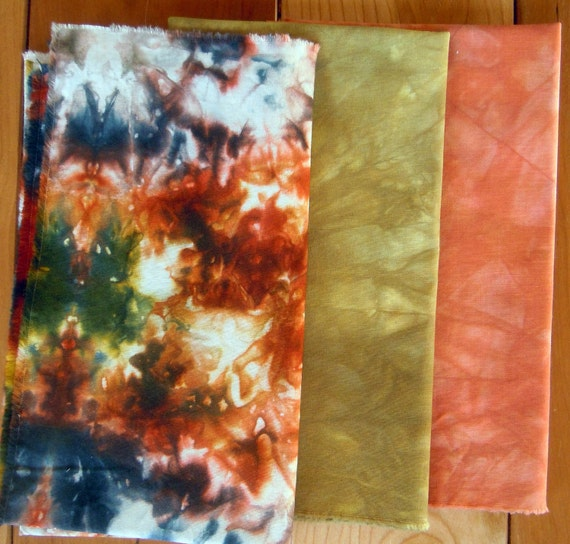 Hand dyed cotton fabric, solid stack 3