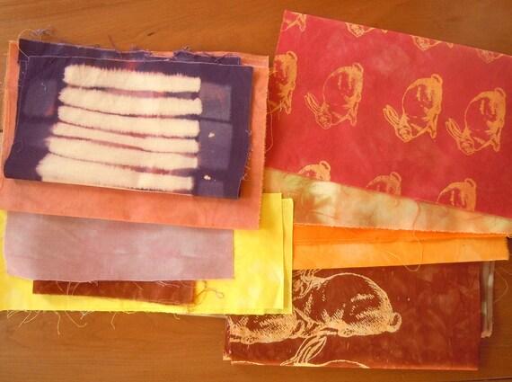 hand dyed fabric scrap bundle 4