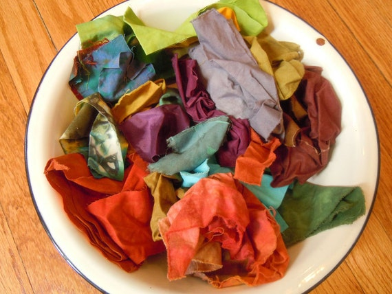 hand dyed fabric scraps