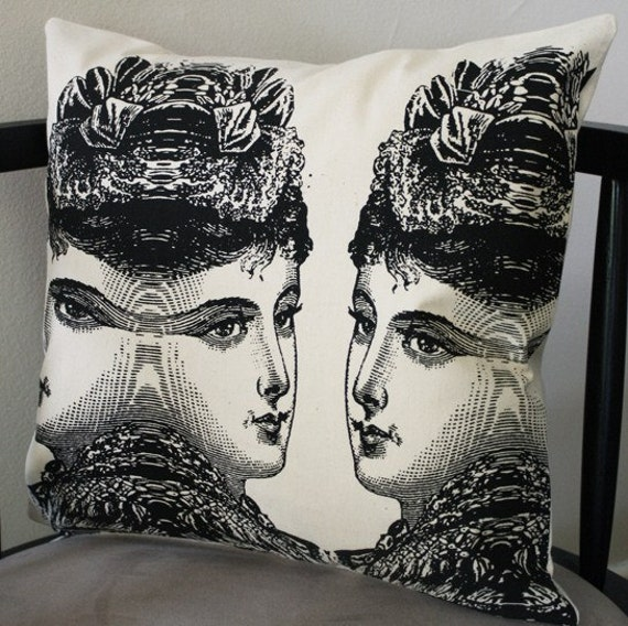 victorian lady pillow cover cream and black by commondecency