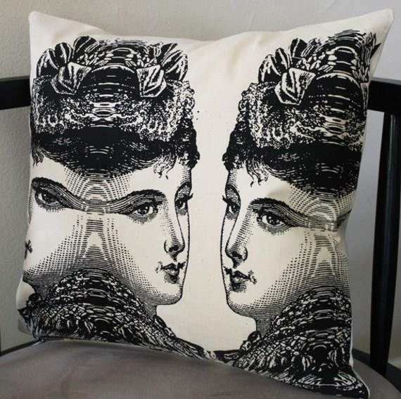 Victorian Lady Pillows : victorian lady pillow cover cream and black by commondecency