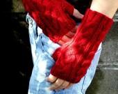 Fingerless Gloves Garnet Red Merino Hand Knit