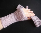 Lilac Fingerless Lace Gloves Pink Pewter Hand Knit For Her