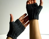 Kid Mohair Charcoal Gray Hand Knit Texting Fingerless Gloves