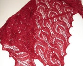 Ruby Red Lace Triangle Shawlette Hand Knit