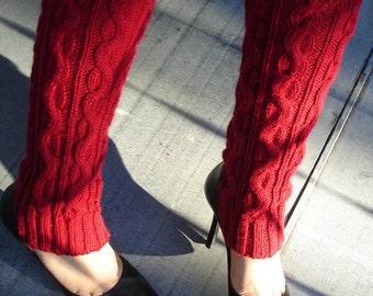 Burgundy Red   Leg Warmers Hand Knit