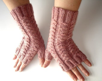 Fingerless Gloves Pink Heather Merino Hand Knit
